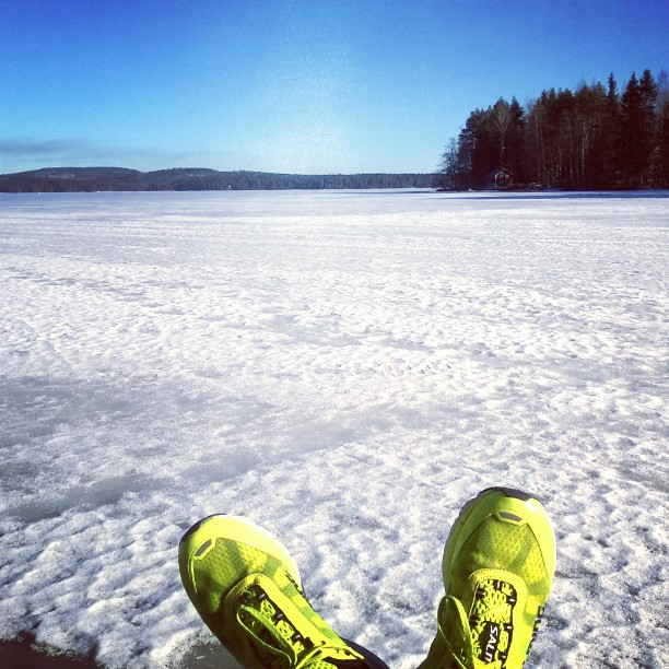 Only in Finland: jogging on frozen lake, +5 and no other living soul on sight :) #spring #finland #jogging #sakke2015